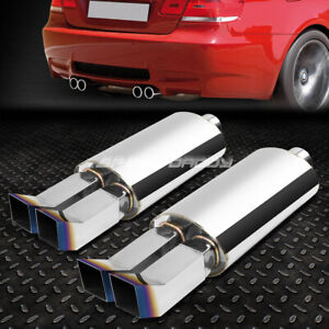 2x 3 inlet Dual Bent Square Burnt Tip T304 Stainless Racing Oval Exhaust Muffler