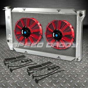 72 79 Ford T bird Lincoln Mercury Cougar Two Row Aluminum Radiator 12 Red Fans