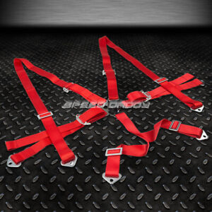 6 Point Adjustable Racing Seat Belt Harness 2 Red Shoulder Strap Camlock Style