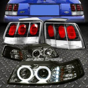 Smoked Halo Projector drl Headlight black Altezza Tail Light For 99 04 Mustang