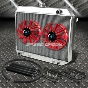 3 Row Aluminum Radiator 2x 10 Fan Red Black Oil Cooler For 68 73 Satellite Gtx