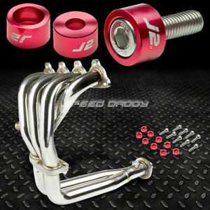 J2 For D15 D16 Sohc Exhaust Manifold 4 2 1 Race Header Red Washer Cup Bolt
