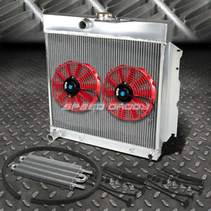 2 Row Aluminum Radiator 2x 9 Fan Red Toc Oil Cooler For 65 69 Charger Hemi V8
