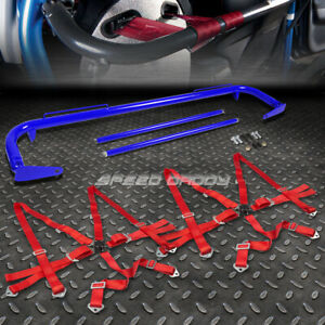 Blue 49 stainless Steel Chassis Harness Bar red 6 pt Strap Camlock Seat Belt