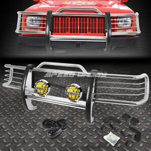 Chrome Brush Grill Guard Round Amber Fog Light For 84 01 Jeep Cherokee Xj Suv