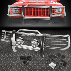 Chrome Brush Grill Guard Round Clear Fog Light For 84 01 Jeep Cherokee Xj Suv