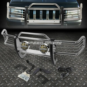 Chrome Brush Grill Guard Round Smoke Fog Light For 93 98 Jeep Grand Cherokee Zj