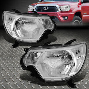 For 12 15 Toyota Tacoma Chrome Housing Clear Corner Headlight Replacement Lamps