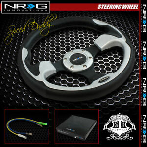 Universal Nrg Pvc Leather Aluminum 32cm Racing Steering Wheel Black silver Decor