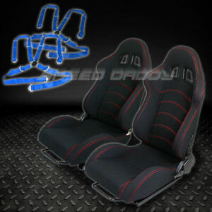 2 X Universal Type f1 Black Woven Racing Seats slider 4 point Camlock Blue Belts