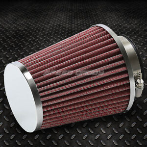 2 5 Cold Short Ram Intake Universal Round Cone Washable Red Air Filter Clamp