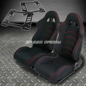 Pair Type 1 Reclining Black Cloth Racing Seat Bracket For 97 06 Wrangler Tj