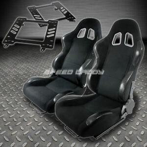 Pair Type 4 Reclining Black Cloth Racing Seat Bracket For 93 02 Camaro Trans Am