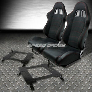 2 X Black Suede Reclinable Racing Seats Bracket For 02 06 Mit Lancer Evo 8 Ct9a