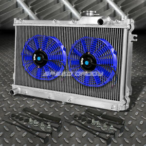 2 Row Aluminum Radiator 2x 10 Fan Kit Blue For Jdm 90 97 Mazda Miata Mx5 Na B6ze