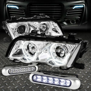 Chrome Projector Headlight Led Corner 12 Led Grill Fog Light For 99 01 Bmw E46