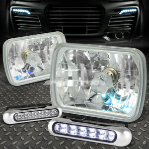 Clear Square Diamond Projector Headlight 12 Led Grill Fog Light For 7x6 H6054
