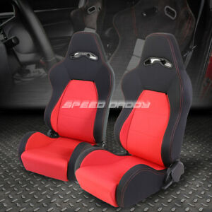 Red Stitch Woven Fabric Reclinable Sport Adjuster Racing Seat Driver Passenger
