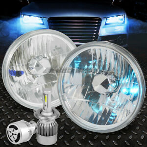 Round Chrome Housing Headlight white Led H4 Hid W fan For 7 7x7 Diamond Cut