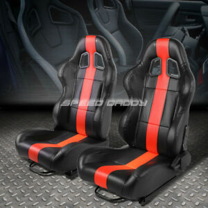 Pair Black Vertical Red Stripe Reclinable Leather Type R Racing Seats W Sliders