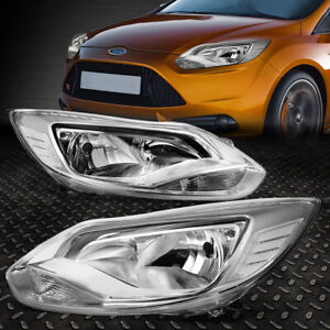 For 12 14 Ford Focus Chrome Housing Clear Corner Headlight Replacement Head Lamp