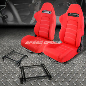 Pair Red Woven Fabric White Dual Stitch Racing Seat Bracket For 02 06 Acura Rsx