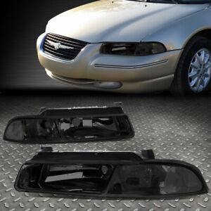 For 1995 2000 Dodge Stratus Pair Smoked Housing Clear Corner Headlight Lamp Set