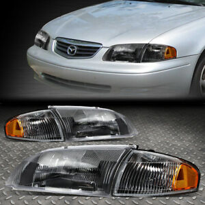 For 98 99 Mazda 626 Black Housing Amber Corner Headlight Replacement Head Lamps