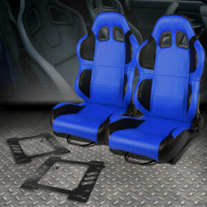 2x Blue Pvc Reclinable Black Wing Racing Seat bracket For 97 06 Jeep Wrangler