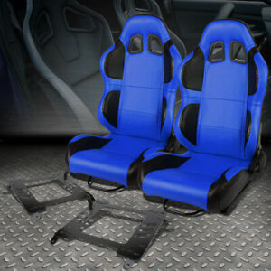2x Blue Pvc Reclinable Black Wing Racing Seat Bracket For 00 05 Toyo