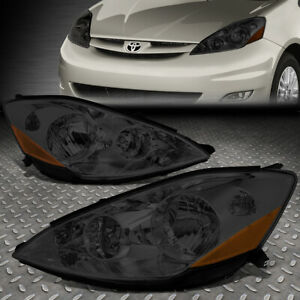 For 06 10 Toyota Sienna Smoked Housing Amber Corner Headlight Replacement Lamps