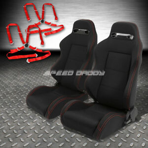 2x Type r Black Canvas Reclinable Racing Seat 4 point Red Harness Camlock Belt