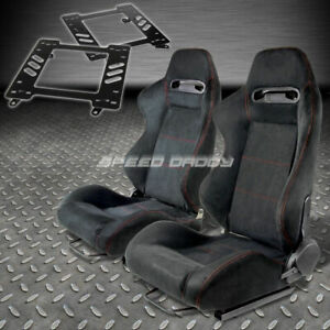 Pair Type R Black Suede Red Stitch Racing Seat Bracket For 93 02 Trans Am 4g