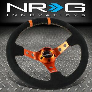 Nrg Reinforced 350mm 3 deep Dish Black Suede Orange Spoke stripe Steering Wheel