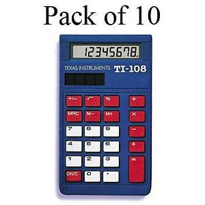 Texas Instruments Ti 108 Simple Calculator Large Display Slide on Hard Case