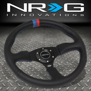 Nrg Reinforced 350mm 2 5 Deep Dish Leather Blue Red Center Mark Steering Wheel