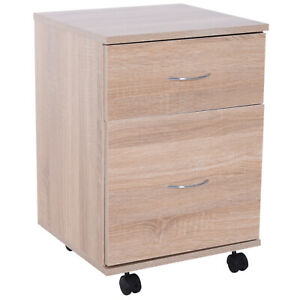 Homcom Filing Cabinet 2 Drawer Wooden Storage Wheels Office Pedestal
