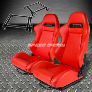 Pair Type R Red Pvc Reclining Racing Seat Bracket For 02 06 Acura Rsx Dc5 K20