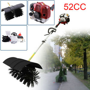 52cc Gas Power Hand Held Walk Behind Sweeper Broom Driveway Walkway Cleaning