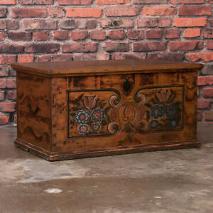 Antique Hungarian Painted Pine Trunk