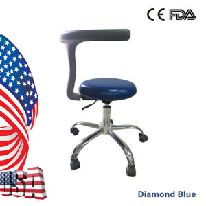 Dental Doctor s Hygienist s Seat Stool Chair Adjustable Mobile Diamond Blue S5