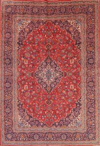 Vintage Large Traditional Floral Red Kaashaan Persian Oriental Area Rug 10x14ft