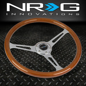 Nrg Reinforced 360mm Classic Wood Grain Chrome Slotted 3 spoke Steering Wheel