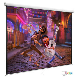 120 1 1 Manual Pull Up Projection Screen Matte Home Hd Movie Theater White