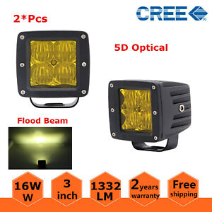 2x 3inch Amber 16w Flood Led Work Light Square Cube Pods Offroad Fog Bumper 5d