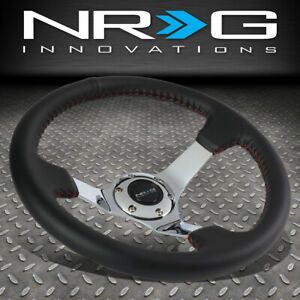 Nrg 350mm Black Leather Red Stitching 3 Deep Dish Chrome Spoke Steering Wheel