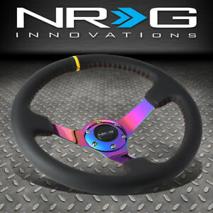Nrg 350mm 3 deep Dish Neo Chrome Spoke Leather Yellow Center Mark Steering Wheel