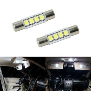 2 X Xenon White T6 28mm 4smd Led For Car Vanity Mirror Light Sun Visor Jdm 6641