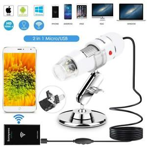 Wifi Usb Microscope 40 To 1000x Digital Handheld Endoscope 8 Led With 2 In 1
