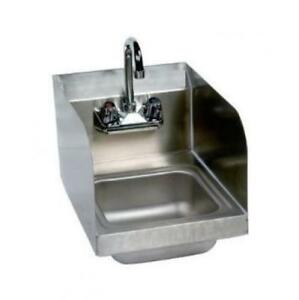 Stainless Steel Hand Sink With Side Splash Nsf Commercial Equipment 10